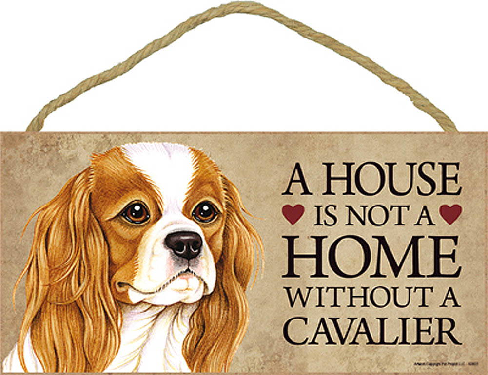 Cavalier King Charles Wood Dog Sign Wall Plaque Photo Display A House Is Not A H + Bonus Coaster
