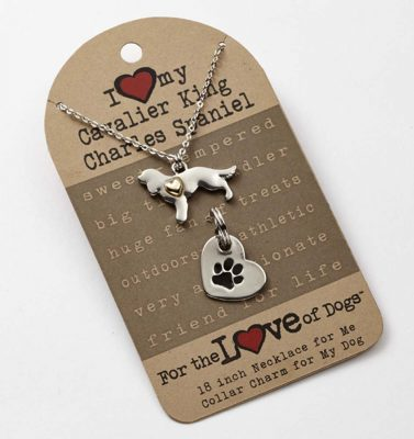Cavalier King Charles Necklace & Collar Charm Set 16 Inches 1