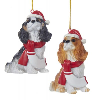 Cavalier King Charles Resin Santa Ornament 3.9 Inches Brown