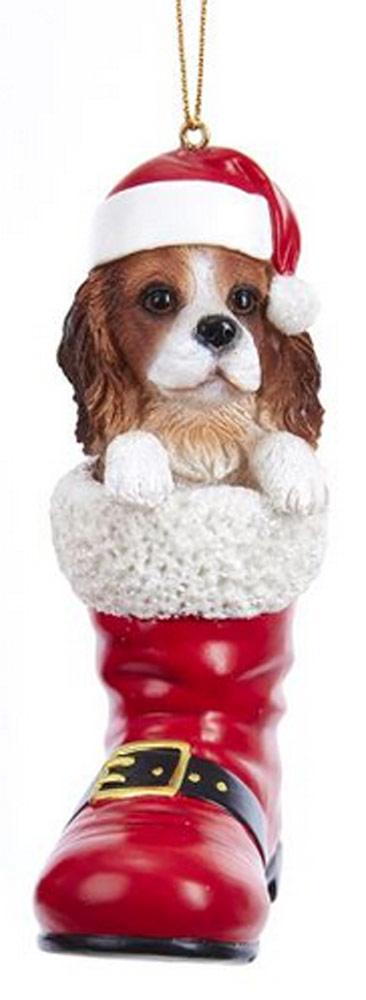 Cavalier King Charles Santa Boot Ornament Brown