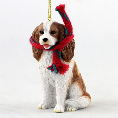 Cavalier King Charles Dog Christmas Ornament Scarf Figurine Brown 1