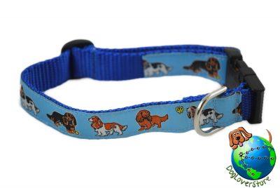 "Cavalier King Charles Dog Breed Adjustable Nylon Collar Tri Medium 10-16"" Blue"