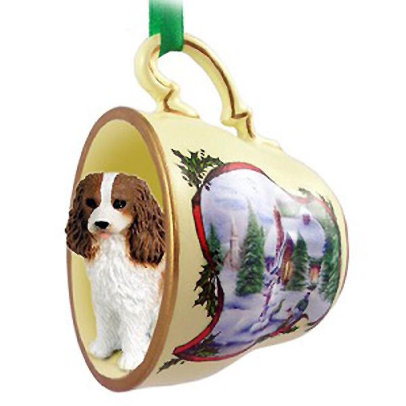 Cavalier King Charles Spaniel Dog Christmas Holiday Teacup Ornament Figurine Brown/White