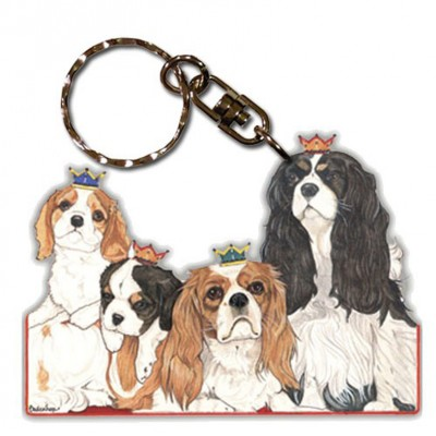 Cavalier King Charles Wooden Dog Breed Keychain Key Ring