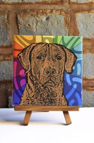 Chesapeake Bay Retriever Colorful Portrait Original Artwork on Ceramic Tile 4x4 Inches