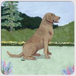 Chesapeake Bay Retriever Yard Scene Coasters Set of 4