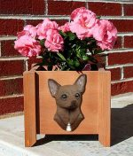 Chihuahua Planter Flower Pot Brown