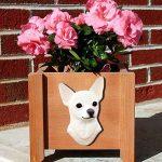 Chihuahua Planter Flower Pot White 1