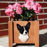 Chihuahua Planter Flower Pot Black White 1