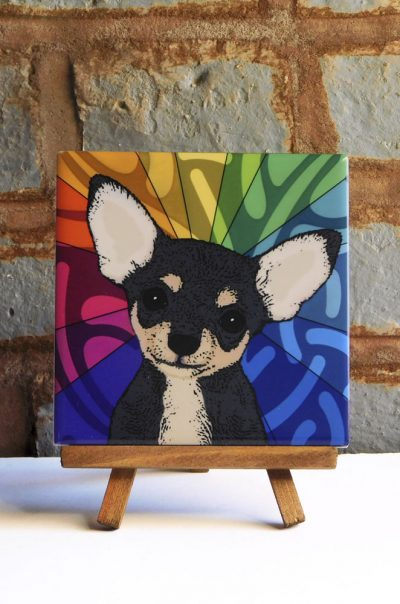 Chihuahua Black Colorful Portrait Original Artwork on Ceramic Tile 4x4 Inches