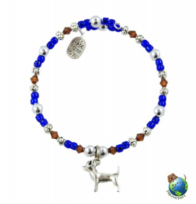 Chihuahua Beaded Charm Bracelet Silver Handmade