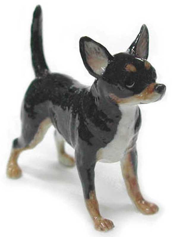 Chihuahua Hand Painted Porcelain Figurine Black