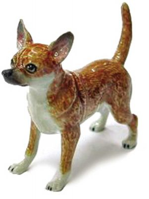 Chihuahua Hand Painted Porcelain Figurine Tan 1