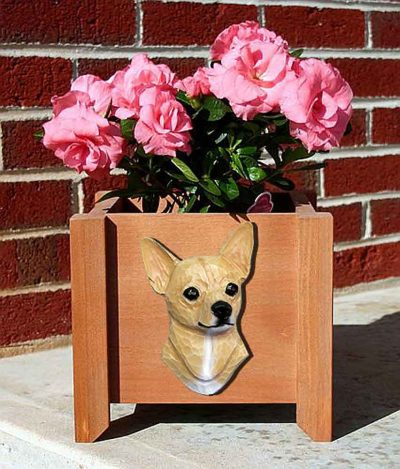 Chihuahua Planter Flower Pot Fawn 1
