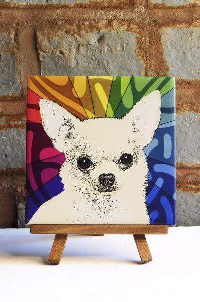 Chihuahua Tan Fluffy Coat Colorful Portrait Original Artwork on Ceramic Tile 4x4 Inches