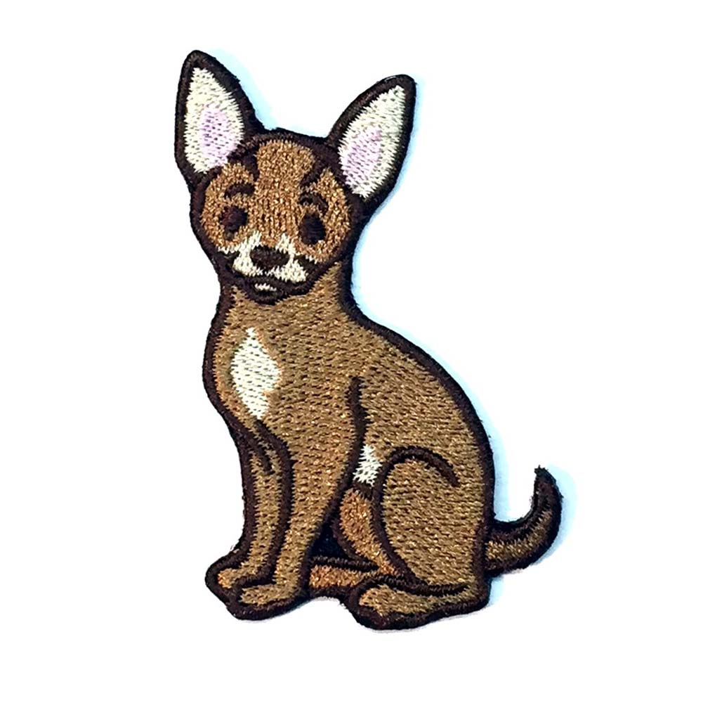 Chihuahua Iron on Embroidered Patch Tan