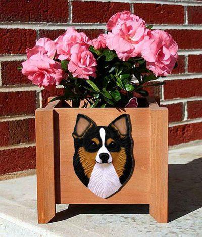 Chihuahua Planter Flower Pot Longhair Tri