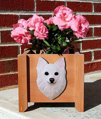 Chihuahua Planter Flower Pot Longhair White