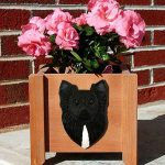 Chihuahua Planter Flower Pot Longhair Black 1