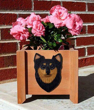 Chihuahua Planter Flower Pot Longhair Black Tan