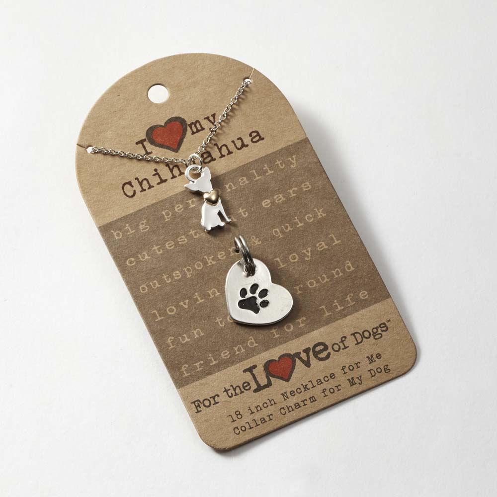 Chihuahua Necklace & Collar Charm Set 16 Inches