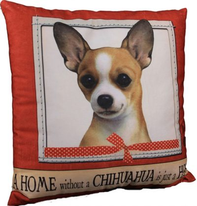 Chihuahua Pillow 16×16 Polyester Tan 1