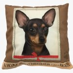 Chihuahua Pillow 16×16 Polyester Black 1