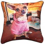 Chihuahua Artistic Throw Pillow 18X18""