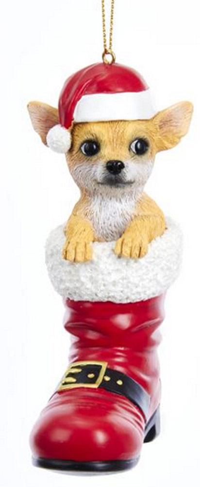 Chihuahua Santa Boot Ornament Tan