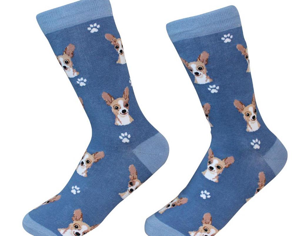 Chihuahua Face Pattern Socks Tan