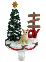 Chihuahua Stocking Holder Hanger Tan