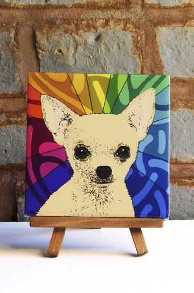 Chihuahua Tan Colorful Portrait Original Artwork on Ceramic Tile 4x4 Inches