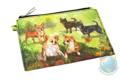 Chihuahuas in Yard on Zippered Wallet Pouch