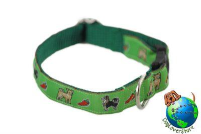 "Chihuahua Dog Breed Adjustable Nylon Collar Small 7-11"" Green"