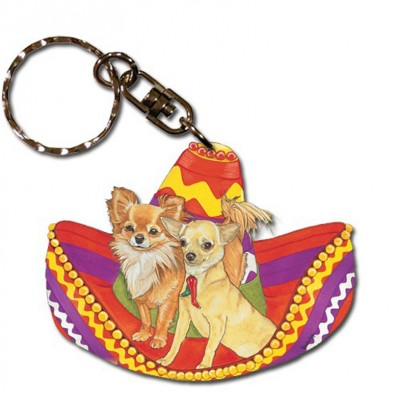 Chihuahua Wooden Dog Breed Keychain Key Ring 1
