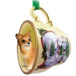 Chihuahua Dog Christmas Holiday Teacup Ornament Figurine Longhair