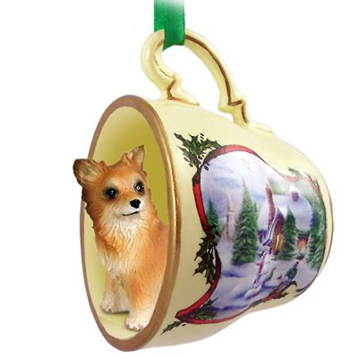 Chihuahua Dog Christmas Holiday Teacup Ornament Figurine Longhair 1