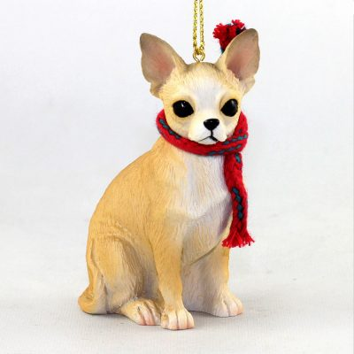 Chihuahua Dog Christmas Ornament Scarf Figurine Tan