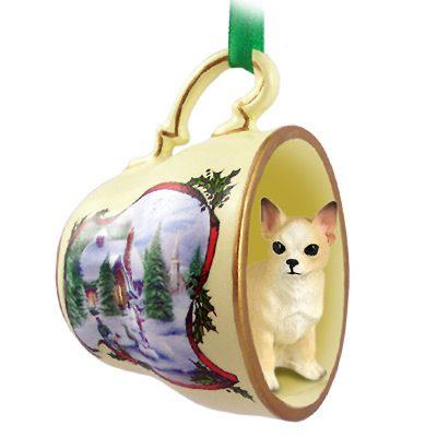 Chihuahua Dog Christmas Holiday Teacup Ornament Figurine White/Tan 1