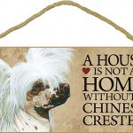 Chinese Crested Wood Dog Sign Wall Plaque 5 x 10 + Bonus Coaster 1