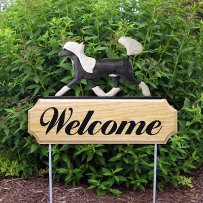 Chinese Crested Outdoor Welcome Garden Sign Black & White in Color