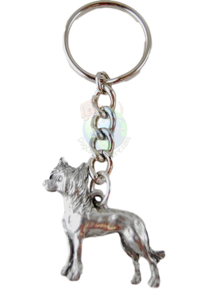 Chinese Crested Pewter Keychain