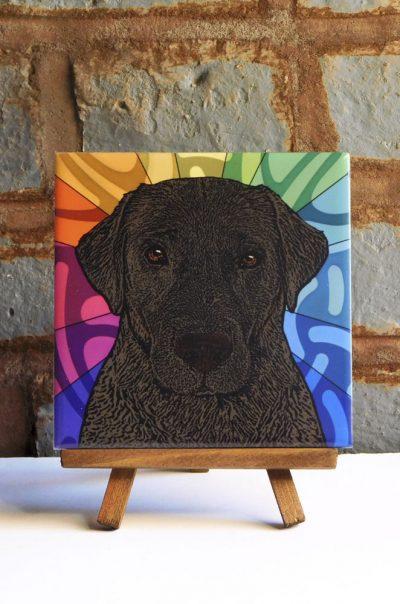 Chocolate Lab Colorful Portrait Original Artwork on Ceramic Tile 4x4 Inches