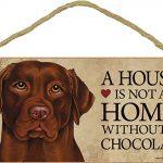 Chocolate Lab Wood Dog Sign Wall Plaque 5 x 10 + Bonus Coaster 1