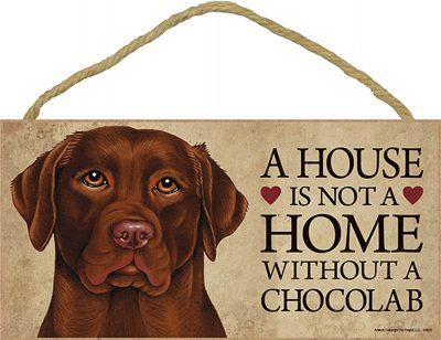 Chocolate Lab Wood Dog Sign Wall Plaque 5 x 10 + Bonus Coaster