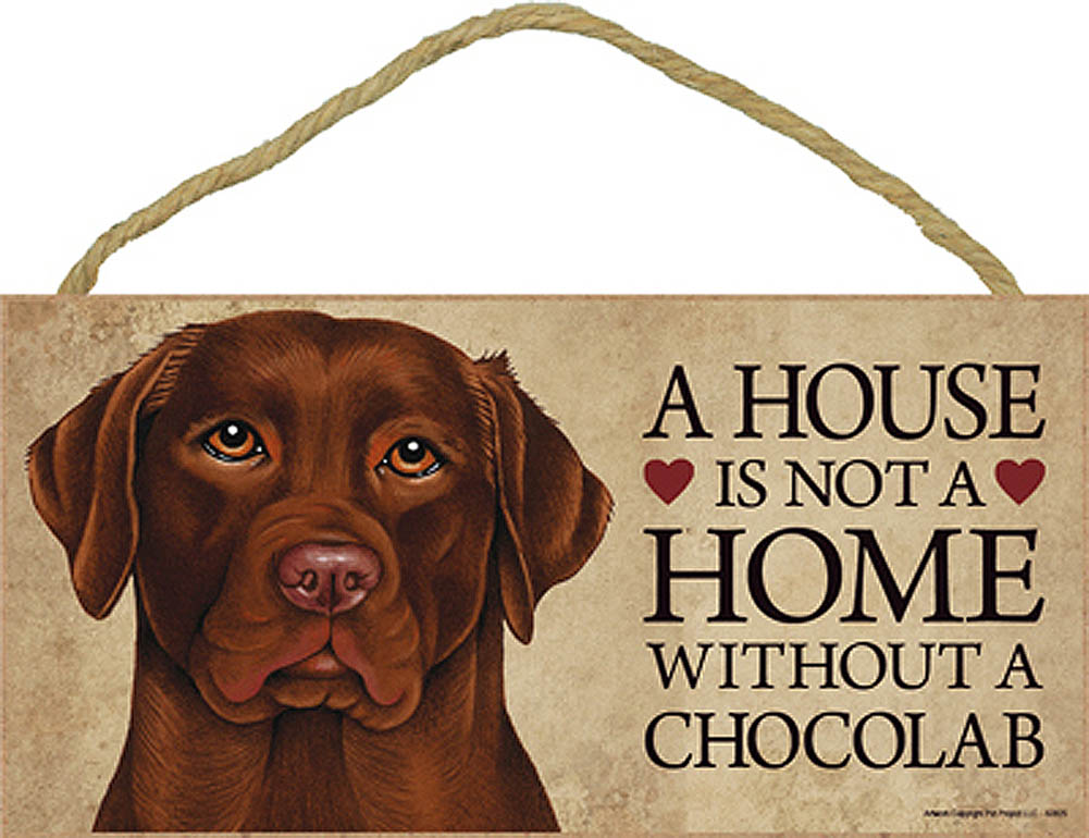 Chocolate Lab Wood Dog Sign Wall Plaque 5 x 10 + Bonus Coaster