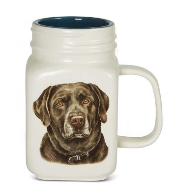 Chocolate Lab 21 Oz. Ceramic Mug Mason Jar - All You Need Is Love