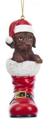 Chocolate Lab Santa Boot Ornament