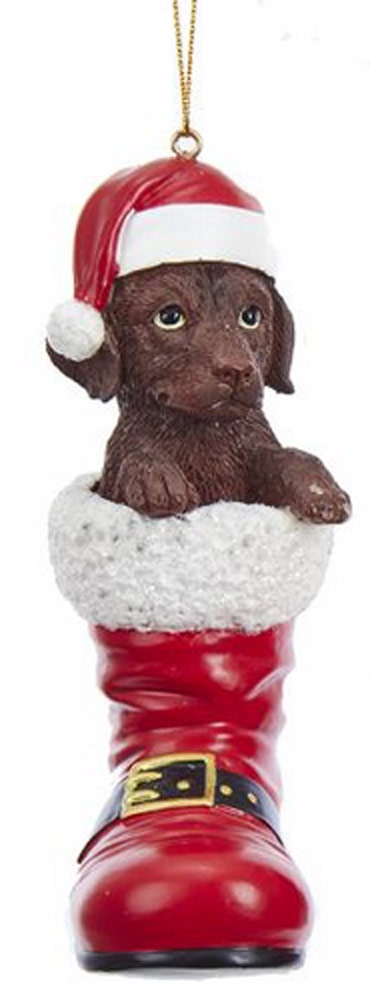 Chocolate Lab Santa Boot Ornament