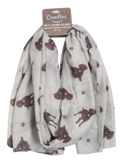 Chocolate Lab Scarf -Lightweight Cotton Polyester